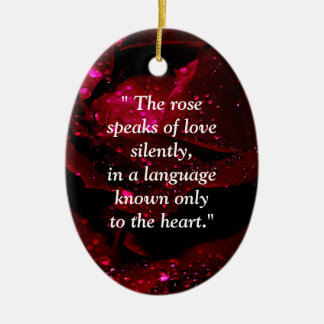 Sparkling Rose Detail Double-Sided Oval Ceramic Christmas Ornament
