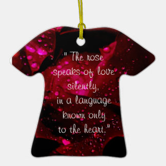 Sparkling Rose Detail Double-Sided T-Shirt Ceramic Christmas Ornament