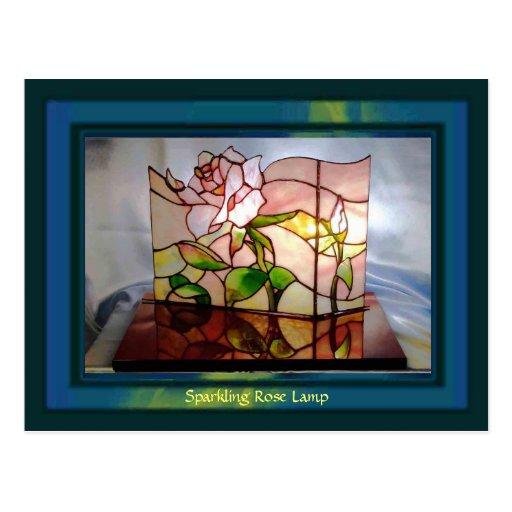 Sparkling Rose Lamp Art Postcards