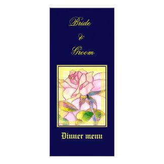 Sparkling Rose Wedding Dinner Menu Card Personalized Invite