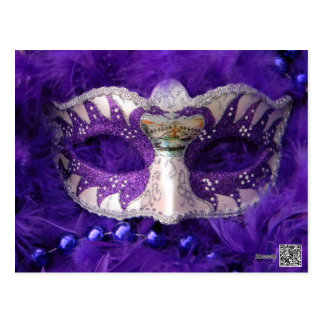 SPARKLING SILVER AND PURPLE MASK. POSTCARD