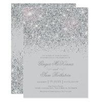 Wedding invitations announcements zazzle uk sparkling silver glitter wedding invitations stopboris Gallery