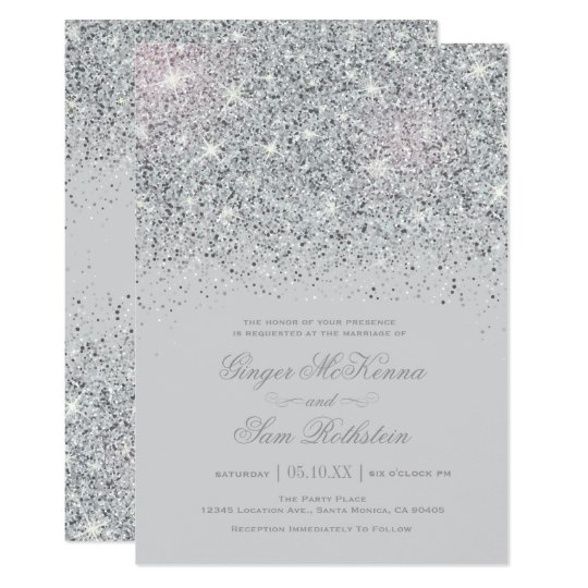 Elegant silver teal blue wedding invitations zazzle for Free wedding invitation samples zazzle