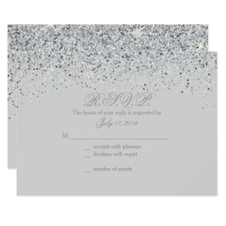Superb Sparkling Silver Glitter Wedding Response Cards Amazing Ideas