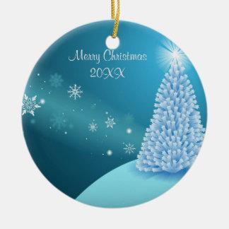 Sparkling snow landscape christmas ornament