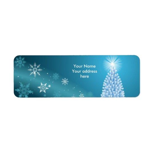 Sparkling snow landscape label personalise return address label