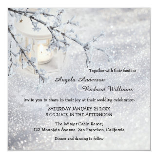 Sparkling Snow Lantern Winter Wedding Invitation
