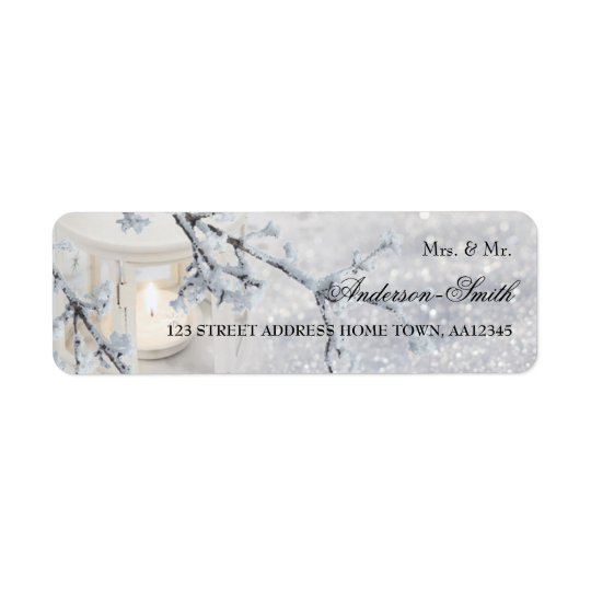 Sparkling Snow Wedding Return Address Label