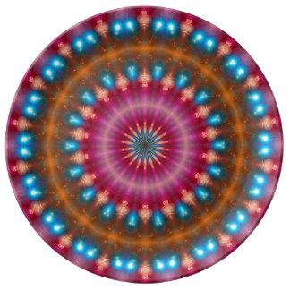 Sparkling soul music (red-orange-turquoise) porcelain plate