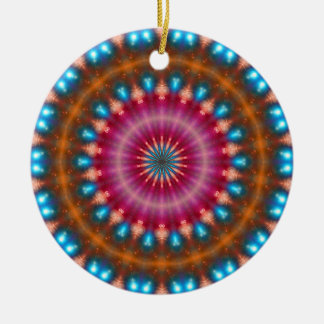 Sparkling soul music (red-orange-turquoise) round ceramic decoration
