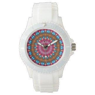 Sparkling soul music (red-orange-turquoise) watch