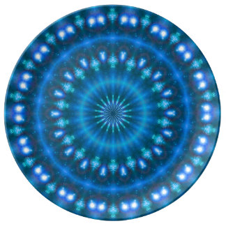 Sparkling soul music (sapphire-electric-sky) porcelain plate