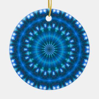 Sparkling soul music (sapphire-electric-sky) round ceramic decoration