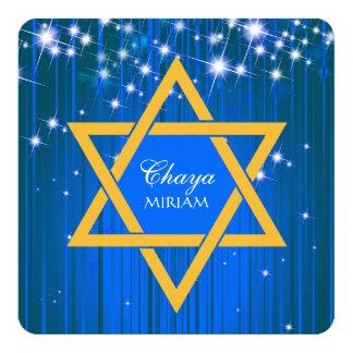 Sparkling Star of David Bat Mitzvah Invitations