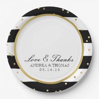 Sparkling Stripes | Elegant Wedding Plates 9 Inch Paper Plate