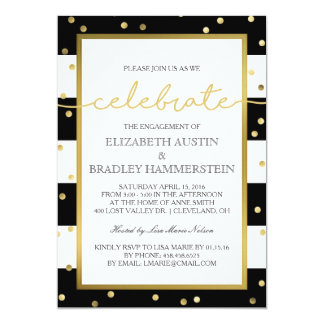 Sparkling Stripes | Engagement Party Invitation