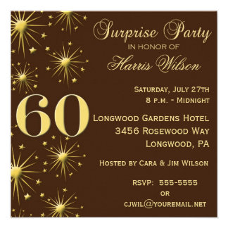 Sparkling Surprise 60th Birthday Invitations