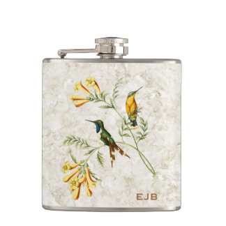 Sparkling Tailed Hummingbird Monogram Hip Flask