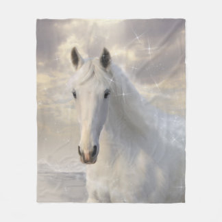 Sparkling White Horse Fleece Blanket