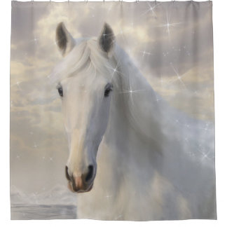 Sparkling White Horse Shower Curtain