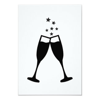 "Sparkling wine glasses 3.5"" x 5"" invitation card"