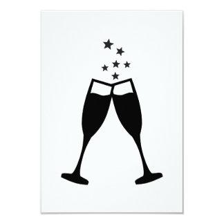 Sparkling wine glasses 3.5x5 paper invitation card