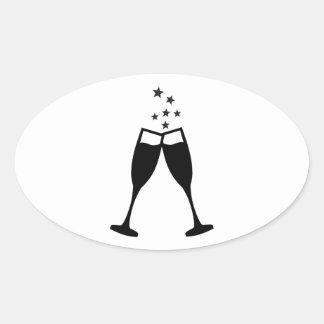 Sparkling wine glasses oval sticker