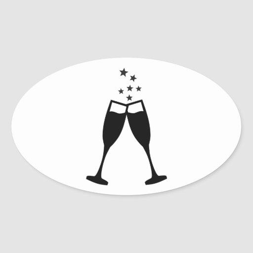 Sparkling wine glasses oval stickers