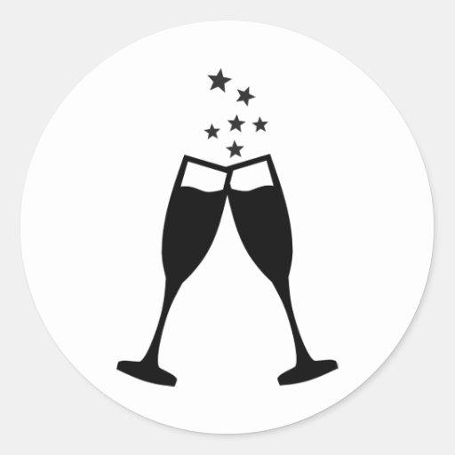 Sparkling wine glasses round sticker