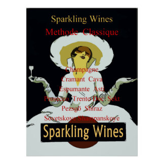 Sparkling Wines, Vintage Lady Listing Poster