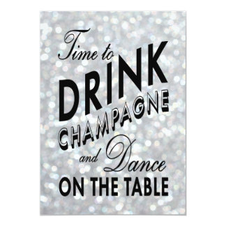 Sparkly 21 Birthday Invite Time to Drink Champagne