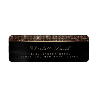 Sparkly Black Gold Luxury Copper RSVP Metallic
