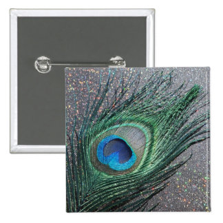 Sparkly Black Peacock Feather Still Life 15 Cm Square Badge