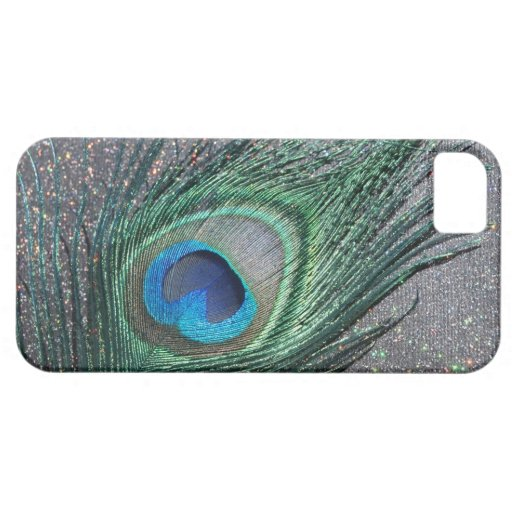 Sparkly Black Peacock Feather Still Life iPhone 5 Case