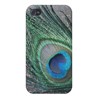 Sparkly Black Peacock Feather Still Life iPhone 4/4S Covers