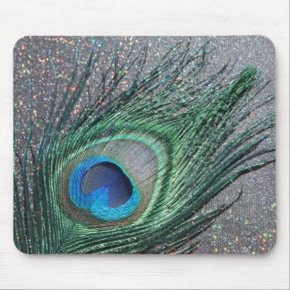 Sparkly Black Peacock Feather Still Life Mouse Pad