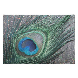 Sparkly Black Peacock Feather Still Life Placemat