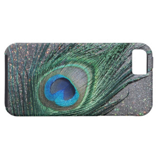 Sparkly Black Peacock Feather Still Life Tough iPhone 5 Case
