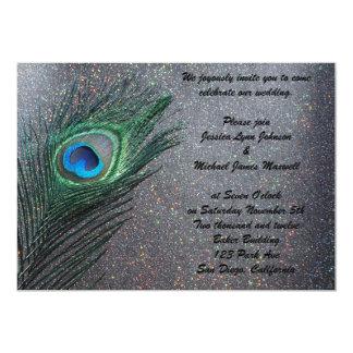 Sparkly Black Peacock Wedding 5x7 Paper Invitation Card