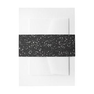 Sparkly Black & Silver Glitter Invitation Belly Band