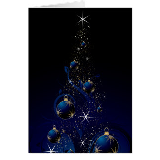Sparkly Blue Christmas Tree Greeting Card