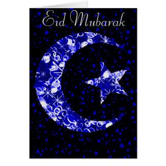 Sparkly Blue Moon and Star Eid Mubarak Card