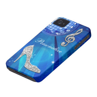 Sparkly Blue/silver Music Note & Stiletto Heel iPhone 4 Covers
