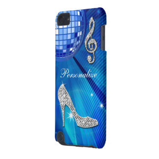 Sparkly Blue/silver Music Note & Stiletto Heel iPod Touch 5G Cases