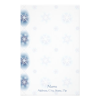 Sparkly Blue Snowflakes Stationery
