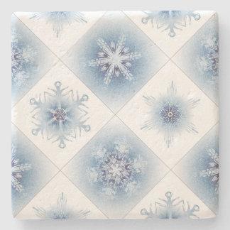 Sparkly Blue Snowflakes Stone Coaster