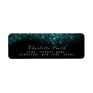 Sparkly Blue Turquoise Ocean Black Glitter  RSVP