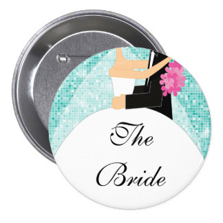 Sparkly Bride Bridal Party  Button / Pin Turquoise