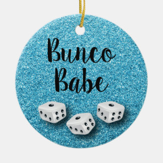Sparkly Bunco Babe Faux Blue Glitter Chic Christmas Ornament