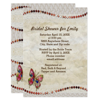 Sparkly Butterfly, Lace & Parchment Bridal Shower Card